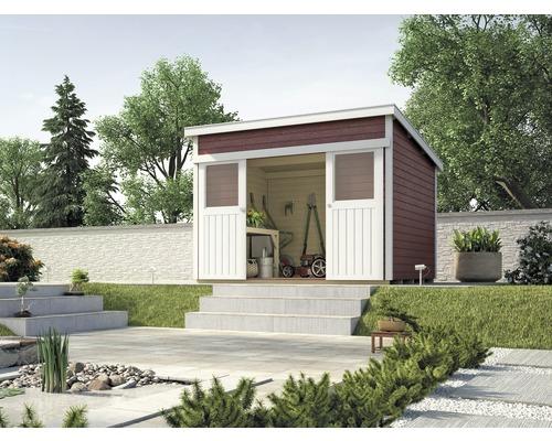 Abri de jardin à porte coulissante weka Lugano 3, 295x299 cm, rouge ...