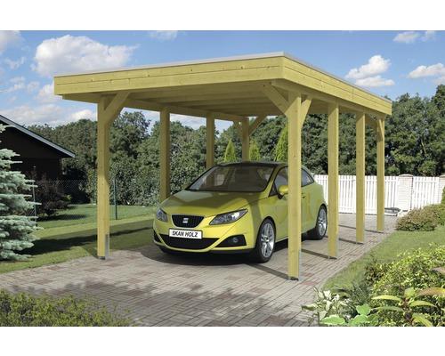 Carport pour un véhicule Skanholz Friesland 314 x 555 cm, toit en aluminium, imprégné par immersion
