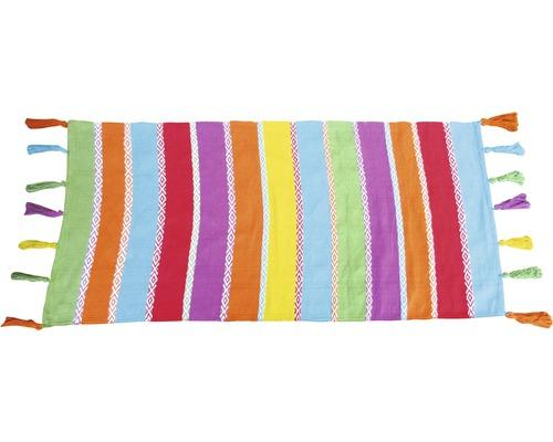 Tapis en chiffon Multi à rayures coloré 65x130 cm