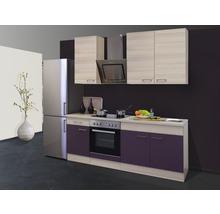 Cuisine complète Focus décor acacia/aubergine 210 cm équipée-thumb-0