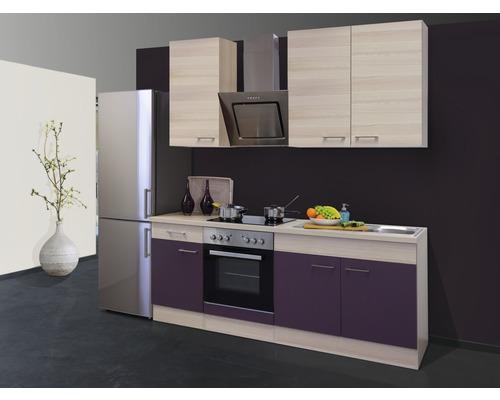 Cuisine complète Focus décor acacia/aubergine 210 cm équipée