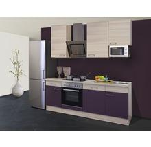 Cuisine complète Focus 220 cm avec électroménager encastré décor acacia/aubergine 00009939-thumb-0