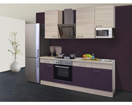 Cuisine complète Focus 220 cm avec électroménager encastré décor acacia/aubergine 00009939-0