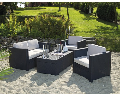 Gartenmöbel Set Riviera Polyrattan 4 teilig, anthrazit   HORNBACH