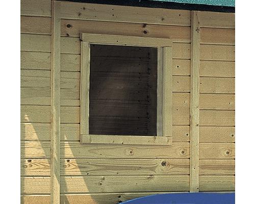 Fenêtre à un vantail pour abri de jardin 14 mm Karibu fixe 50x50 cm naturel