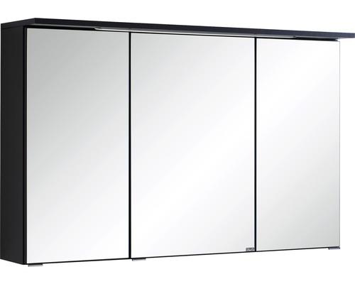 Armoire de toilette à trois portes 100x66 cm gris foncé-0
