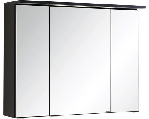 Armoire de toilette à trois portes 80x66 cm gris foncé-0