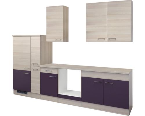Cuisine complète non équipée Focus 300 cm décor acacia/aubergine 00010071-0