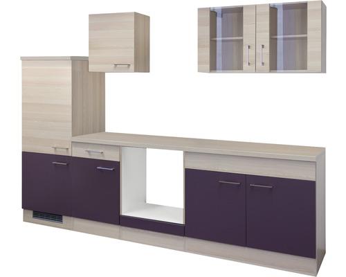 Cuisine complète non équipée Focus 270 cm décor acacia/aubergine 00010016-0