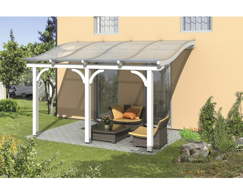 Toiture pour terrasse SKAN HOLZ Venezia 434x289 cm blanc