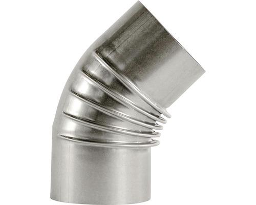 Conduit de poêle coudé Bertrams 45° Ø 130 mm aluminié à chaud argenté