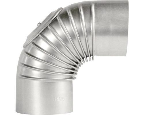 Conduit de poêle coudé Bertrams 90° Ø 110 mm aluminié à chaud argenté avec trappe