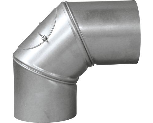 Conduit de poêle coudé Bertrams réglable 0-90° Ø 130 mm aluminié à chaud argenté avec trappe