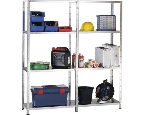Kit étagère de base et étagère complémentaire à emboîter zinguée 1800x1600x350 mm 8 tablettes, cornières séparées, capacité de charge 680 kg