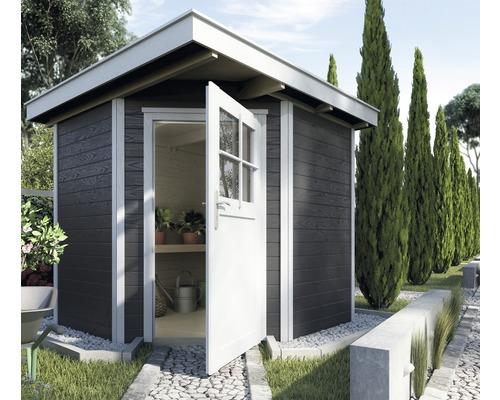 Chalet de jardin d''angle en madriers weka 229, avec plancher, 209x205cm, anthracite-blanc