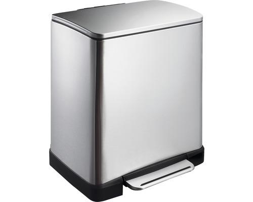 Poubelle à pédale E-Cube 10+9 litres acier inoxydable