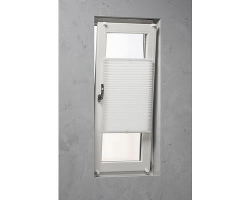 Store plissé Soluna avec guidage latéral, blanc, 40x130cm