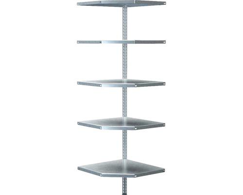 Étagère d''angle à visser Schulte zinguée 1800x550x350 mm 5 tablettes cornières séparées capacité de charge 300 kg