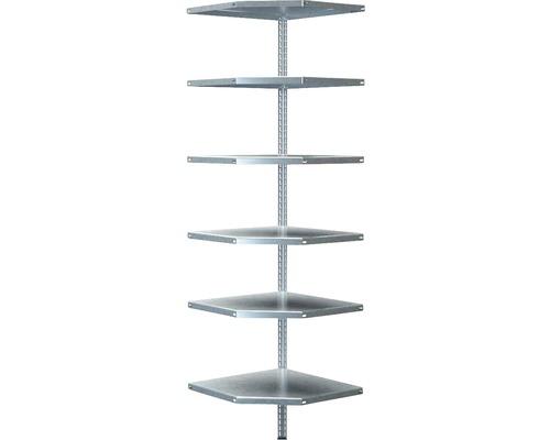 Étagère d''angle à visser Schulte zinguée 2000x550x350 mm 6 tablettes cornières séparées capacité de charge 360 kg
