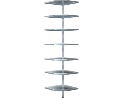 Étagère d''angle à visser Schulte zinguée 2300x550x550 mm 7 tablettes cornières séparées capacité de charge 420 kg