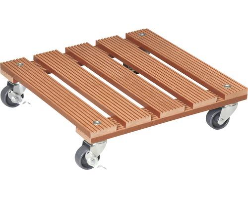 Chariot de plante bois composite 29x29 cm capacité de charge max. 80 kg marron-0