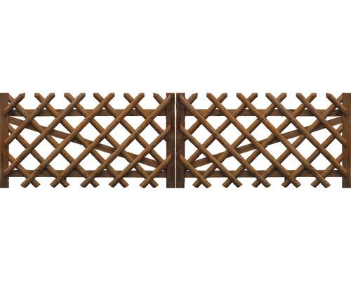 Portail double, clôture croisée 300x100 cm, traité en autoclave par imprégnation