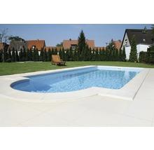 Bordure de piscine margelle Aquitaine élément plat avec courbe intérieure pour arrondi de rayon 250 cm blanc 50 x 31 x 3,2 cm-thumb-1