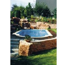 Bordure de piscine margelle Aquitaine élément plat avec courbe intérieure pour arrondi de rayon 250 cm blanc 50 x 31 x 3,2 cm-thumb-2