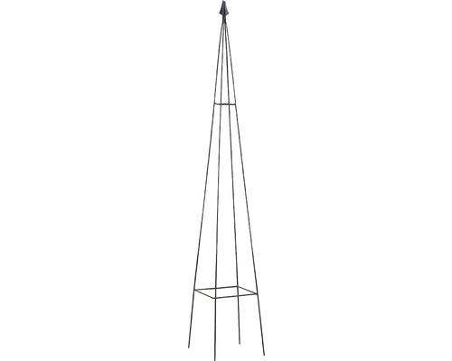 Support pour plantes en forme d''obélisque Levin en métal 20x20x120cm noir