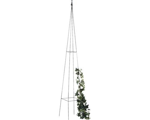 Support pour plantes en forme d''obélisque Levin en métal 23x23x150cm noir