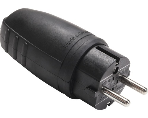 Contact de protection pour raccord en caoutchouc 16A IP44 verrouillable avec fiche à contact de protection noir