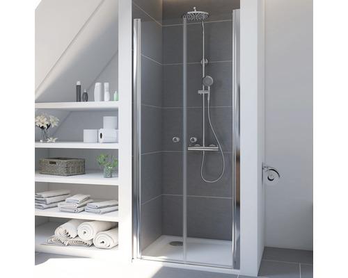 Porte de douche en niche Breuer Express Q72 Elana 6 90cm en verre transparent, profilé couleur argent