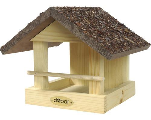 Abri-mangeoire pour oiseaux Pura Natura avec toit en écorce 22,5x20x18 cm