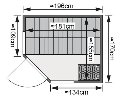 Sauna modulaire Karibu Omelia 1 sans poêle ni toit