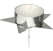Supports bougies pour couronne de l''Avent étoile Ø 4 h 2 cm argent lot de 4-thumb-1