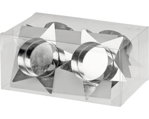 Supports bougies pour couronne de l''Avent étoile Ø 4 h 2 cm argent lot de 4-0