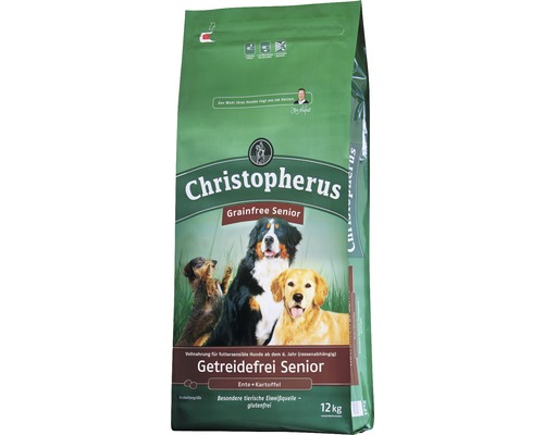Nourriture sèche pour chiens, Allco Christopherus sans céréales Senior canard & pomme de terre 12kg-0