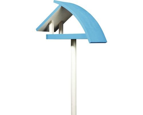 Abri-mangeoire pour oiseaux New Wave avec pied 39x18x23cm blanc-bleu-0