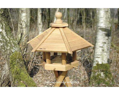 Abri-mangeoire pour oiseaux avec perchoir d''arrivée en bois de chêne 55x62x43cm