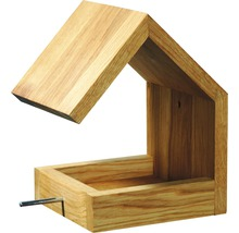 Abri-mangeoire pour oiseaux avec toit en selle 16x19x22cm chêne-thumb-0