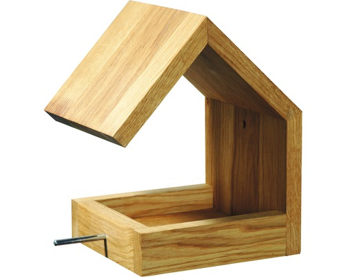 Abri-mangeoire pour oiseaux avec toit en selle 16x19x22cm chêne-0