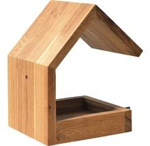Abri-mangeoire pour oiseaux avec toit en selle 16x19x22cm chêne-thumb-1