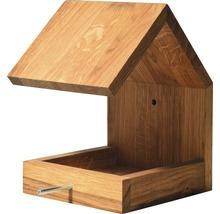 Abri-mangeoire pour oiseaux avec toit en selle 16x19x22cm chêne-thumb-2