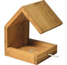Abri-mangeoire pour oiseaux avec toit en selle 16x19x22cm chêne-thumb-3