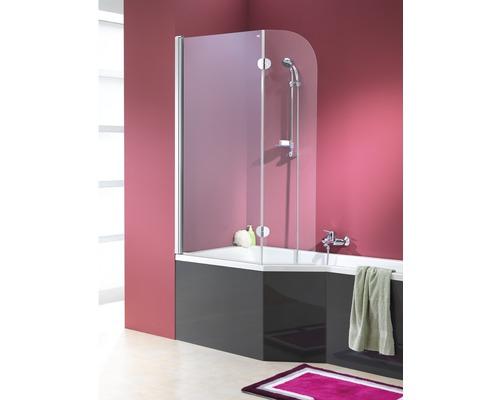 Paroi de baignoire pour Clip Mod. B 1400x800/340 mm verre véritable en 2 morceaux transparent aspect chromé