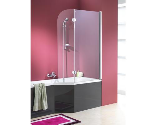 Paroi de baignoire pour Clip Mod. A 1400x800/340 mm verre véritable en 2 morceaux transparent aspect chromé