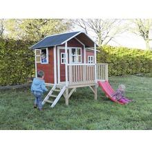 Cabane sur pilotis EXIT Loft 350 en bois avec toboggan rouge-thumb-0
