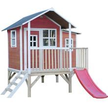 Cabane sur pilotis EXIT Loft 350 en bois avec toboggan rouge-thumb-2