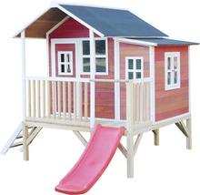Cabane sur pilotis EXIT Loft 350 en bois avec toboggan rouge-thumb-3