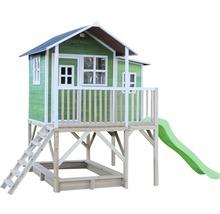 Cabane EXIT Loft 550 bois avec bac à sable, toboggan vert-thumb-2